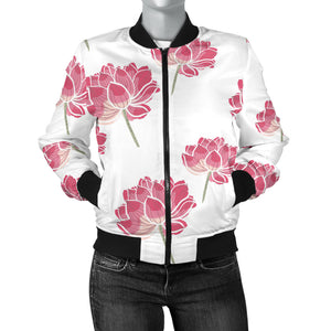 Pink Lotus Waterlily Pattern Women'S Bomber Jacket