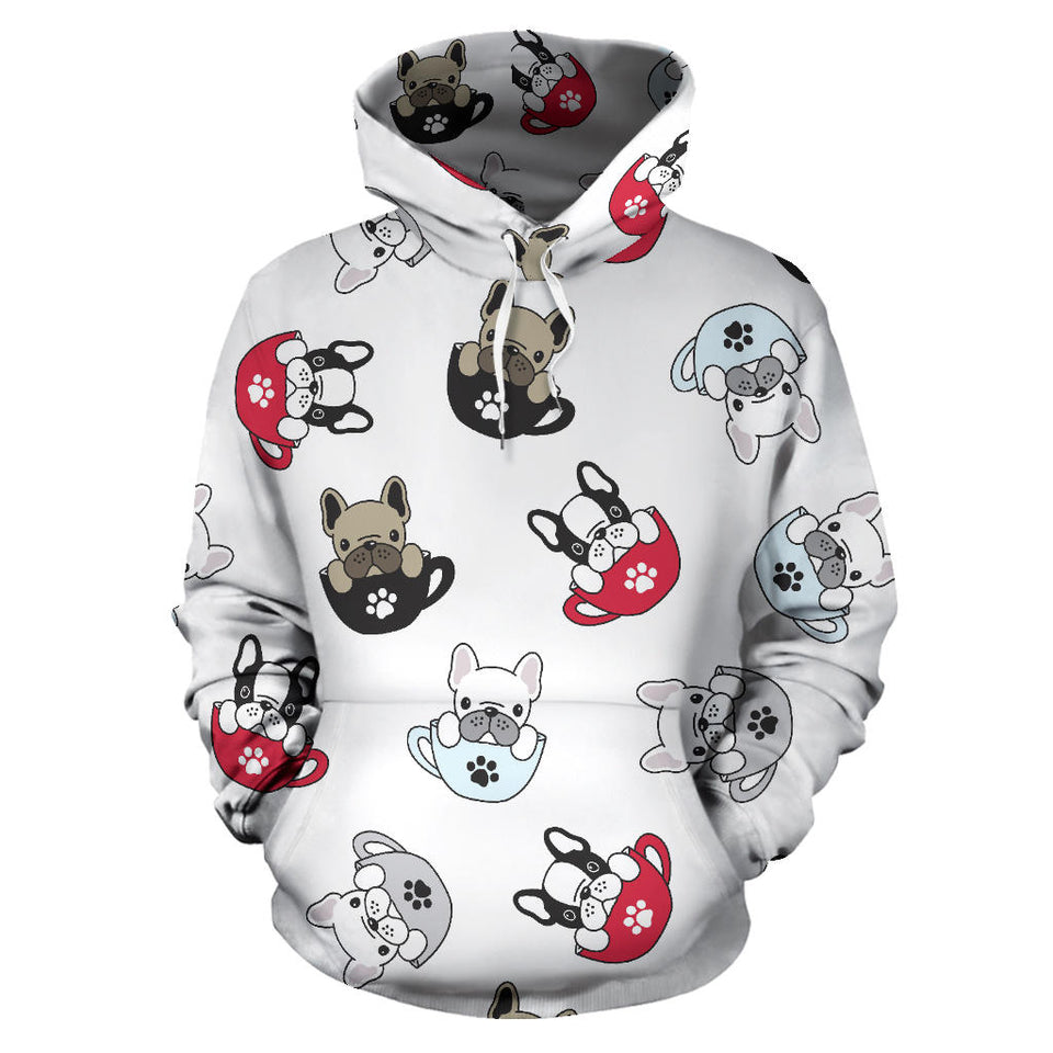 French Bulldog Cup Paw Pattern Men Women Pullover Hoodie