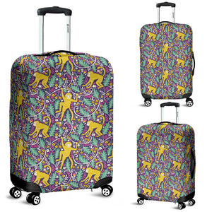 Cute Yellow Monkey Leaves Pattern Luggage Covers