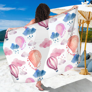 Watercolor air balloon cloud pattern Sarong