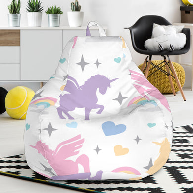 colorful unicorn rainbow heart pattern Bean Bag Chair