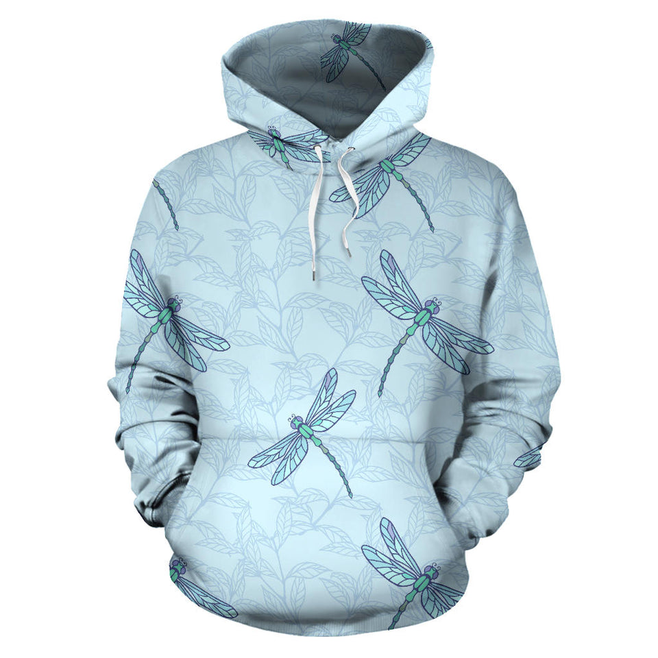 Dragonfly Pattern Blue Background Men Women Pullover Hoodie