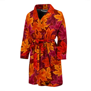 Autumn maple leaf pattern Men's Bathrobe