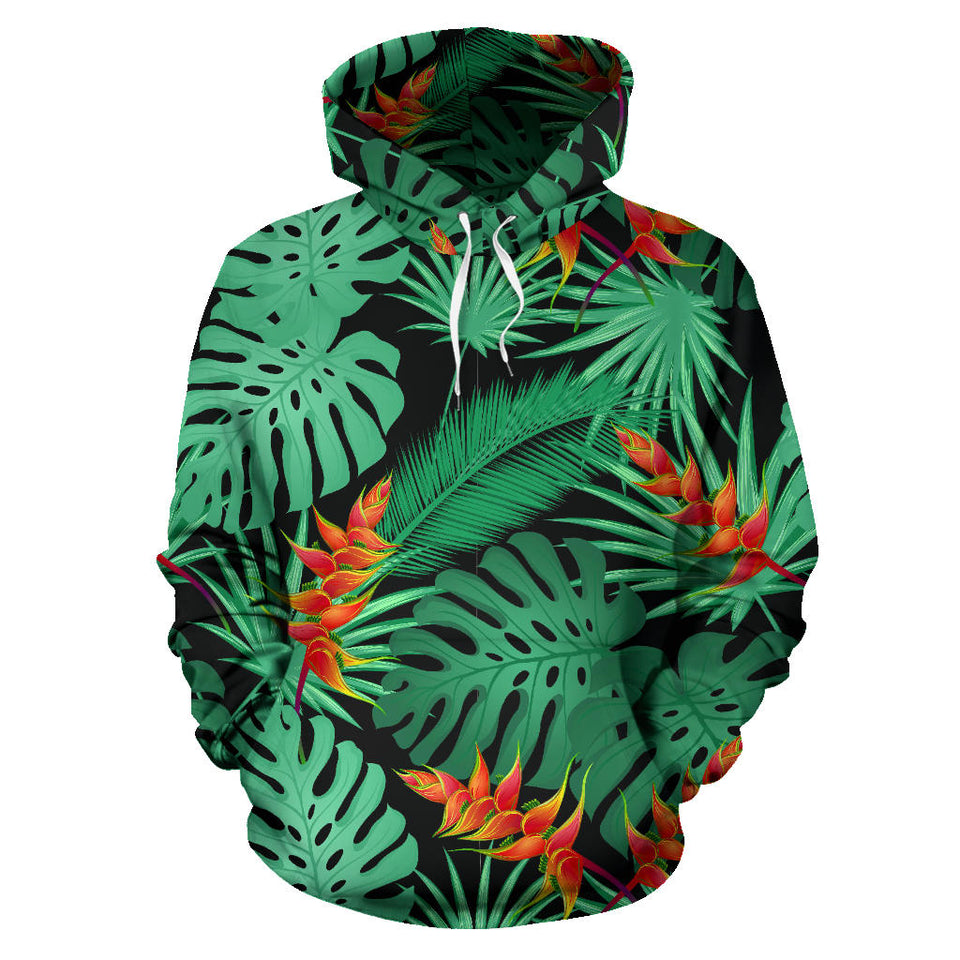 Heliconia Flower Palm Monstera Leaves Black Background Men Women Pullover Hoodie