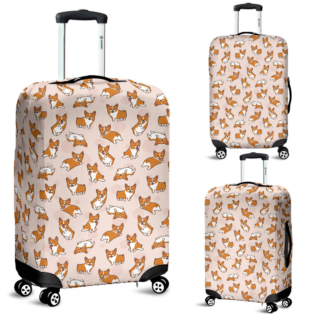 Cute Corgis Pattern Pink Background Luggage Covers