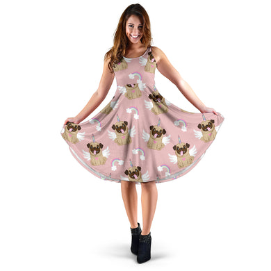 Cute unicorn pug pattern Sleeveless Midi Dress