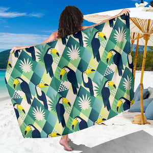 Toucan tropical leaves design pattern  Sarong