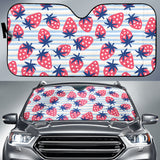 Strawberry Pattern Blue Lines Background Car Sun Shade