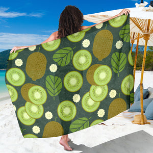 Whole sliced kiwi leave and flower Sarong