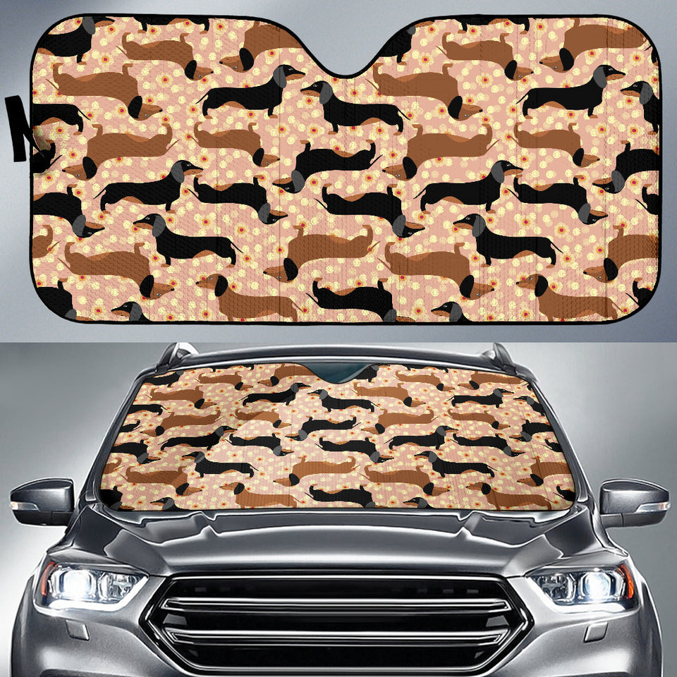 Dachshund Floral Background Car Sun Shade