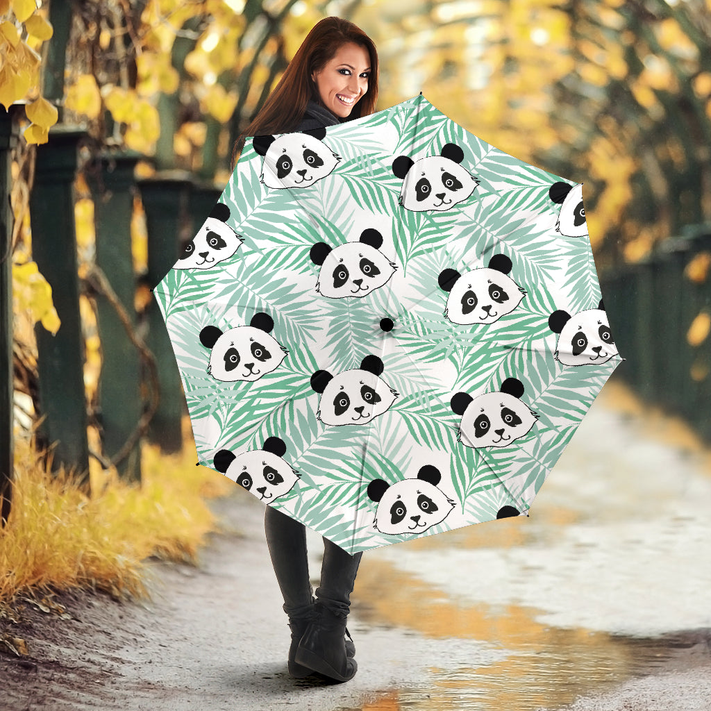 Panda pattern tropical leaves background Umbrella