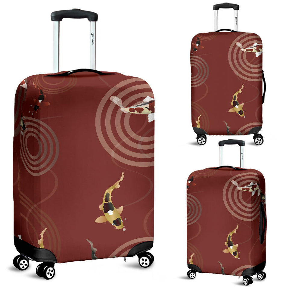 Koi Fish Carp Fish red background Luggage Covers