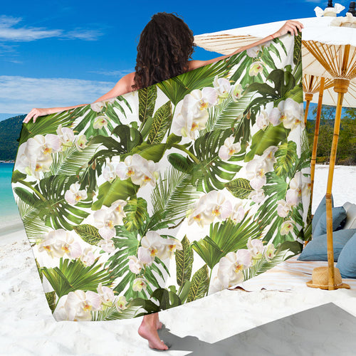 White orchid flower tropical leaves pattern Sarong