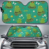 Cute Frog Dragonfly Design Pattern Car Sun Shade