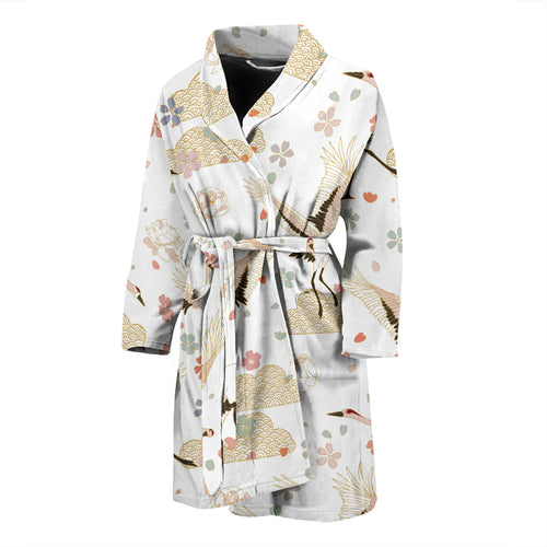 Beautiful Japanese cranes pattern Men's Bathrobe