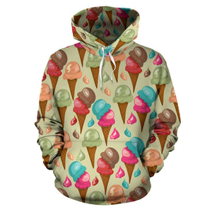 Colorful Ice Cream Pattern Men Women Pullover Hoodie
