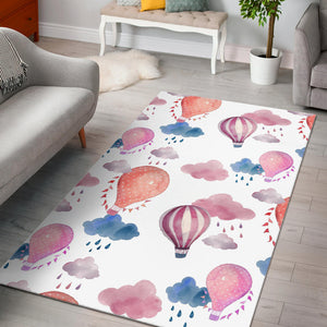 Watercolor air balloon cloud pattern Area Rug
