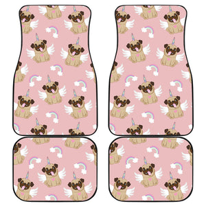Cute unicorn pug pattern Front and Back Car Mats