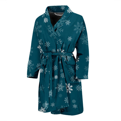Snowflake Pattern Dark Background Men'S Bathrobe