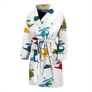 Colorful Helicopter Pattern Men'S Bathrobe