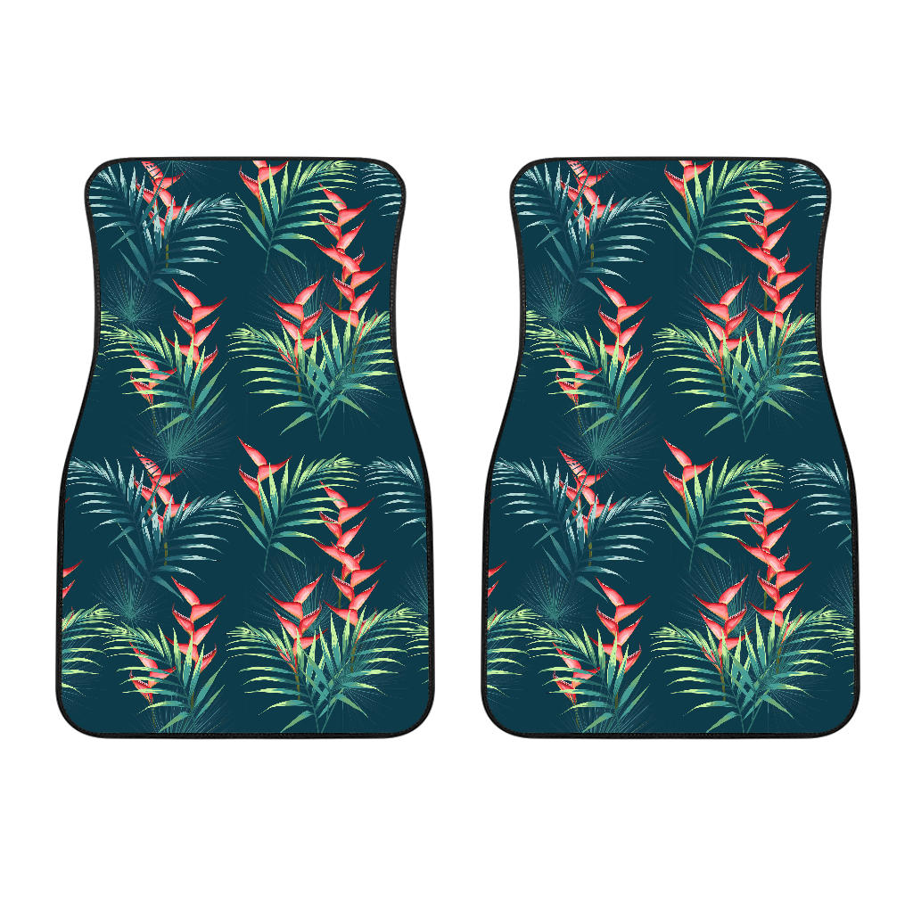 heliconia flowers, palm and monstera leaves on black background pattern Front Car Mats