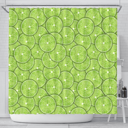 Slices of Lime pattern Shower Curtain