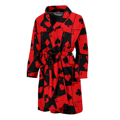 Casino Cards Suits Pattern Print Design 02 Men's Bathrobe