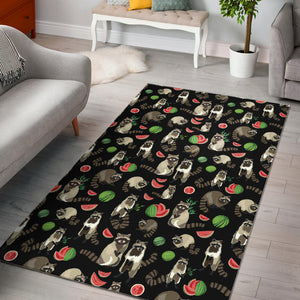 Raccoon watermelon pattern Area Rug