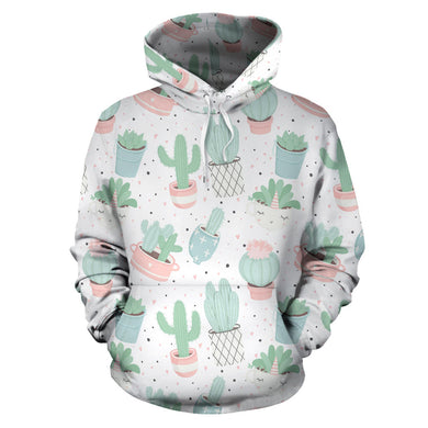 Pastel Color Cactus Pattern  Men Women Pullover Hoodie