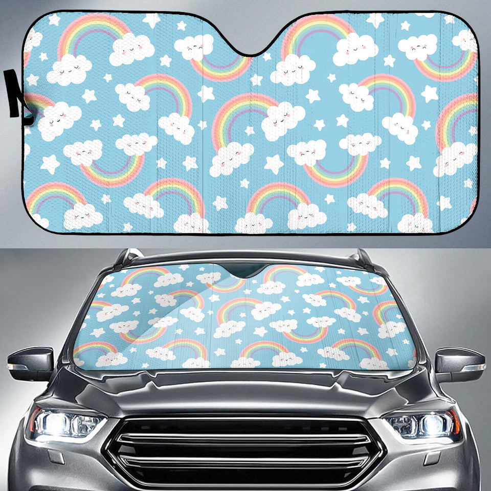 Cute Rainbow Clound Star Pattern Blue Background Car Sun Shade