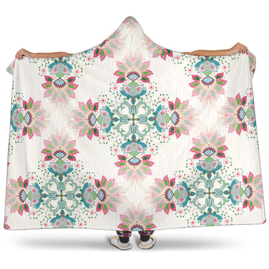 Square Floral Indian Flower Pattern Hooded Blanket