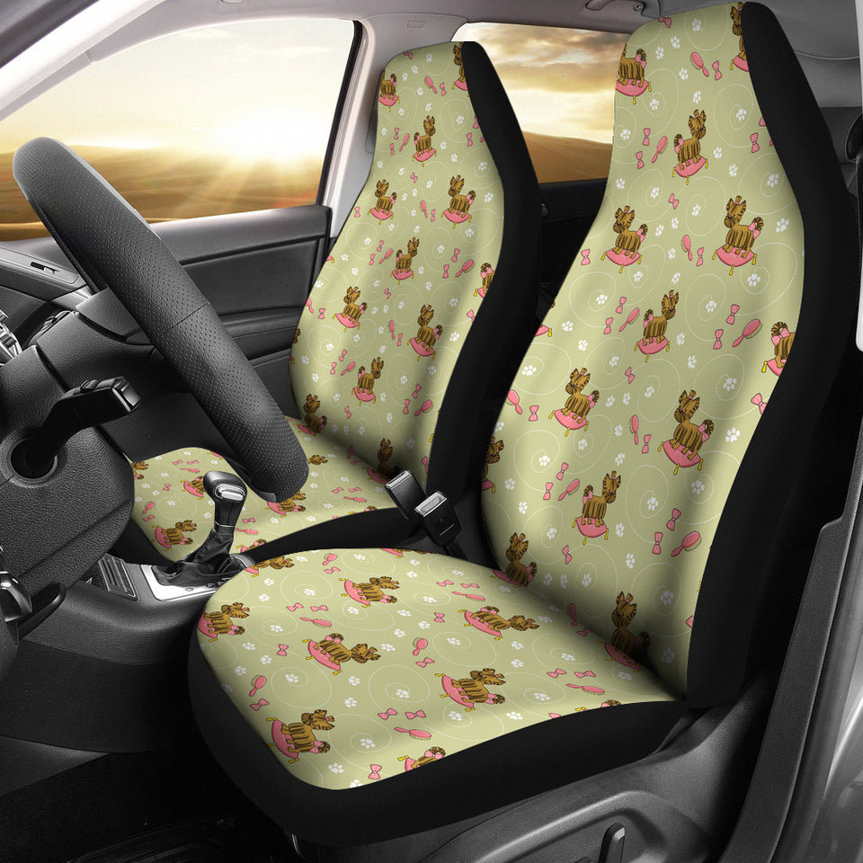 Yorkshire Terrier Pattern Print Design 01 Universal Fit Car Seat Covers