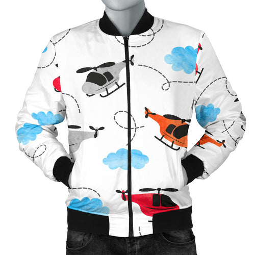 Watercolor helicopter cloud pattern Men's Bomber Jacket