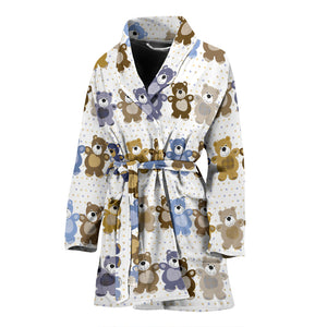 Teddy Bear Pattern Print Design 02 Women's Bathrobe