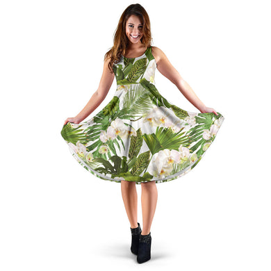 White orchid flower tropical leaves pattern Sleeveless Midi Dress