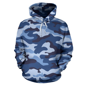 Blue camo camouflage pattern Pullover Hoodie