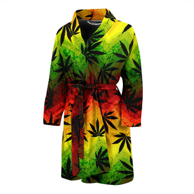Canabis Marijuana Weed Pattern Print Design 03 Men's Bathrobe