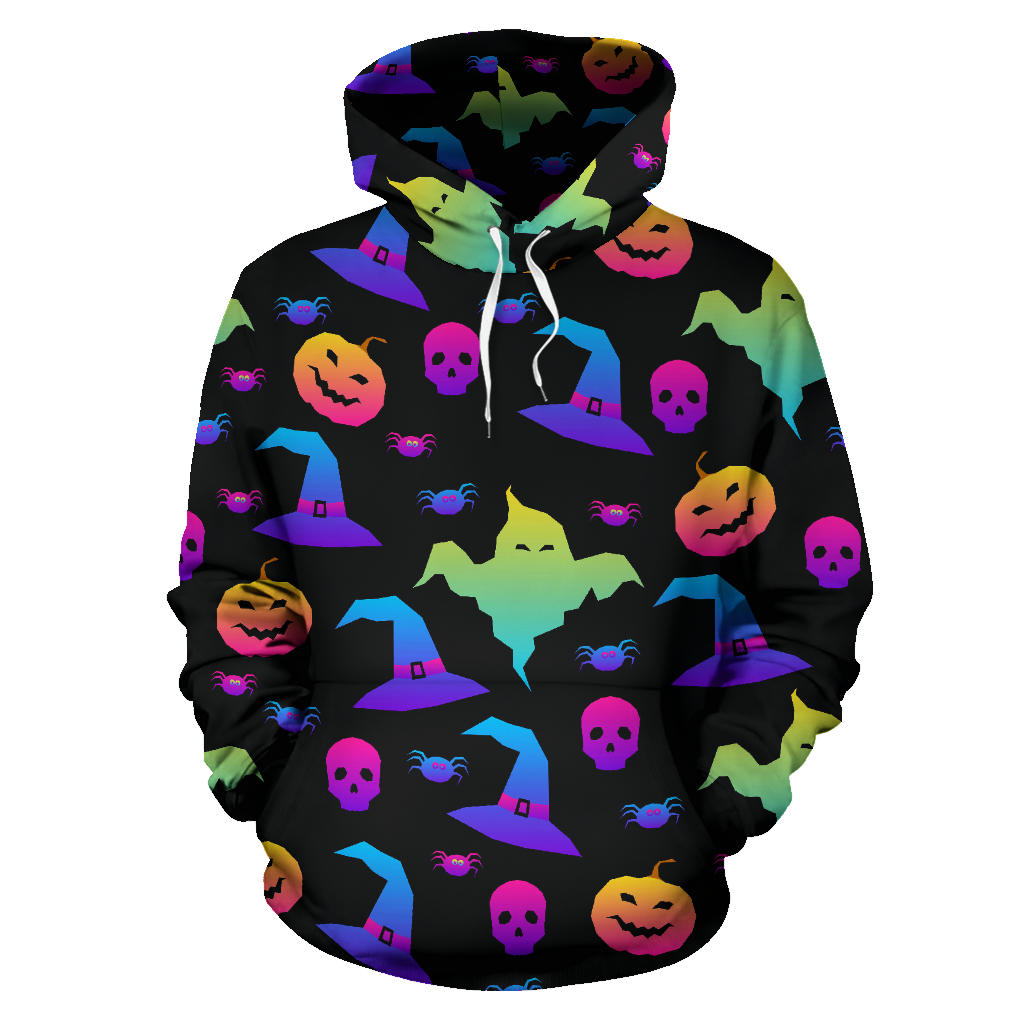Colorful Halloween Background Men Women Pullover Hoodie