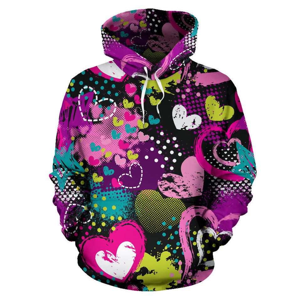 Heart Dot Wave Star Creative Design Pattern Men Women Pullover Hoodie