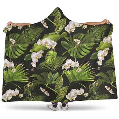 White Orchid Flower Tropical Leaves Pattern Blackground Hooded Blanket