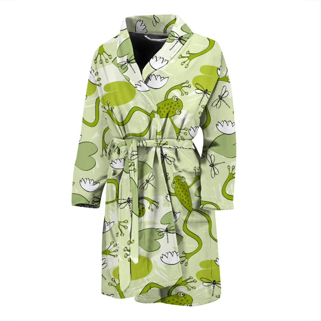 Cute Frog Dragonfly Pattern Men'S Bathrobe