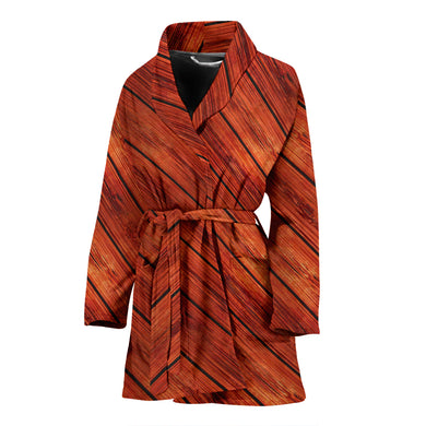 Wood Printed Pattern Print Design 03 Women's Bathrobe