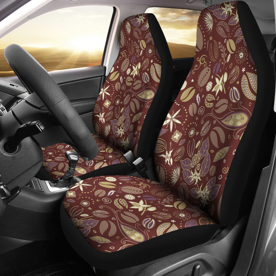 Coffee Bean Flower Pattern Universal Fit Car Seat Covers