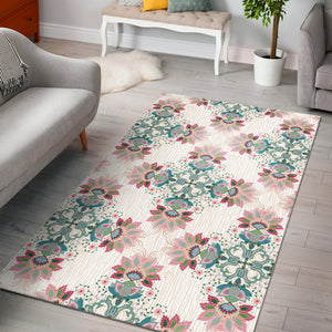 Square floral indian flower pattern Area Rug