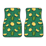 Durian Pattern Green Background Front Car Mats