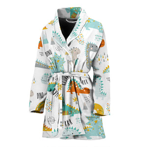 Cute funny kids dinosaurs pattern Women's Bathrobe