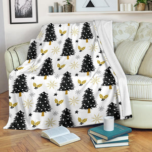 Christmas Tree Holly Snow Star Pattern Premium Blanket
