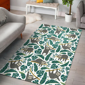 Cute sloths tropical palm leaves white background Area Rug
