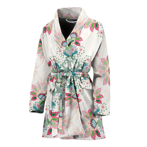 Square floral indian flower pattern Women's Bathrobe
