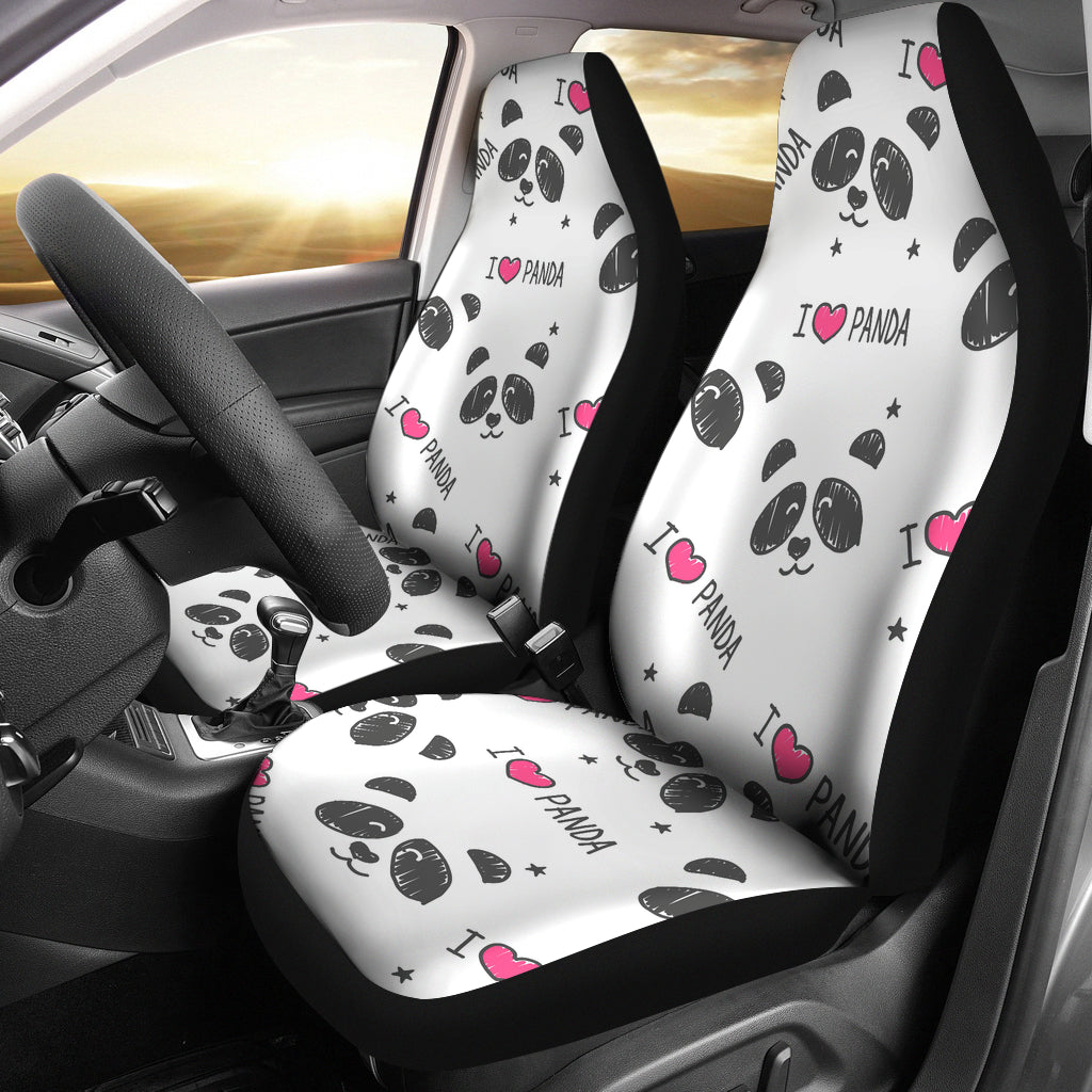 Hand Drawn Faces Of Pandas Pattern Universal Fit Car Seat Covers